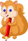 Cute squirrel cartoon holding pencil Stock Image