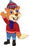 Cute squirrel cartoon waving Stock Images