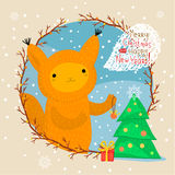 Cute squirrel. Greeting card Stock Image