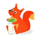 Cute Squirrel With Milk Bottle. Welcome Baby Vector. Stock Photos