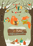 Cute squirrels celebrating Christmas vector illustration