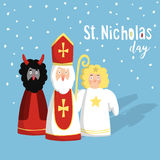 Cute St. Nicholas with devil, angel, christmas invitation, card. Flat design,  illustration, winter background. Stock Photography