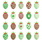 Cute St. Patrick`s Day strawberries. Glazed with cream and chocolate vector illustration