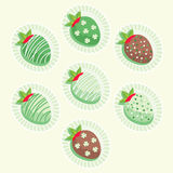 Cute St. Patrick`s Day strawberries. Glazed with cream and chocolate in paper packaging vector illustration