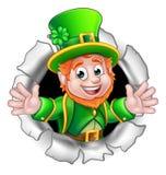 Leprechaun St Patricks Day Cartoon Character. A cute St Patricks Day Leprechaun cartoon character breaking through the background Stock Photos