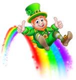 St Patricks Day Leprechaun Sliding on Rainbow. A cute St Patricks day leprechaun cartoon character sliding on rainbow and giving a thumbs up Royalty Free Stock Photography