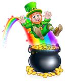 St Patricks Day Leprechaun Rainbow Pot of Gold. A cute St Patricks day leprechaun cartoon character sliding on rainbow into a pot of gold Royalty Free Stock Images