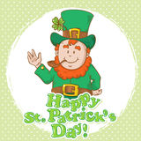 Cute St Patricks Leprechaun in top-hat Royalty Free Stock Images