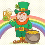 Cute St Patricks Leprechaun in top-hat Royalty Free Stock Image