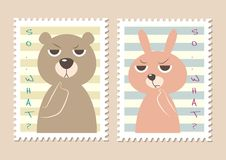 Cute Stamps Bear and Bunny stock illustration