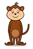 Cute standing monkey. Cartoon character monkey standing with a big smiling face, arms to the side and tail lifted high Royalty Free Stock Images