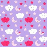 Cute Star, Cloud and Moon Seamless Pattern Background Vector Illustration vector illustration