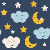 Cute Star, Cloud and Moon Seamless Pattern Background Vector Illustration royalty free illustration