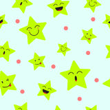 Cute Star Emoji Seamless Pattern Background. Designed as 4 Happy Facial Expressions, Smile, Laugh, Ho Ho, Wink. Useful For General Delight & Fun Cartoon And Stock Image