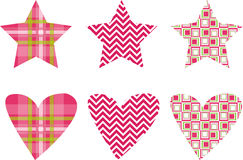 Cute Star & Heart Pattern Vectors Stock Images
