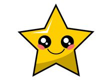 Cute star kawaii face vector illustration design isolated. On white stock illustration