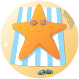 Cute starfish sunbathing Royalty Free Stock Images