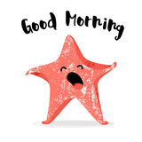 Cute starfish yawns. Good morning card. Flat style. Vector Stock Images