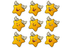 Cute stars. Star wings gold simile cute Royalty Free Stock Photos