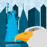 Cute statue of liberty with eagle in new york city. Vector illustration Royalty Free Stock Images