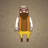 Cute steampunk pilot with wrench and beard Stock Photo