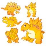 Cute Stegosaurus cartoon. Cute Illustration vector yellow Stegosaurus cartoon character many actions and emotions Royalty Free Stock Photo