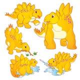 Cute Stegosaurus cartoon. Cute Illustration vector yellow Stegosaurus cartoon character many actions and emotions Stock Photo