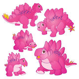 Cute Stegosaurus pink. Cute Illustration vector Pink Stegosaurus cartoon character many actions and emotions Royalty Free Stock Photography