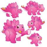 Cute Stegosaurus pink. Cute Illustration vector Pink Stegosaurus cartoon character many actions and emotions Royalty Free Stock Images