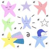cute Stelle motivazione Stile scandinavo cartolina Progettazione luminosa dei bambini s royalty illustrazione gratis
