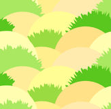 Cute steppe seamless pattern with grass bushes and sand. Nice herbal heath green and yellow texture. For textile, covers, wallpaper, banners, surface, textile Stock Photography