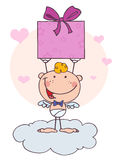 Cute Stick Cupid With Gift And Hearts vector illustration