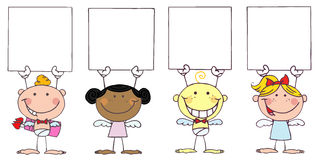 Cute Stick Cupids Holding Blank Signs. Cartoon Cute Stick Cupids Holding Blank Signs royalty free illustration