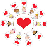 Cute Stick Cupids Holding Heart Signs Around A He. Art stock illustration