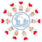 Cute Stick Cupids Holding Heart Signs Around A Gl. Obe vector illustration