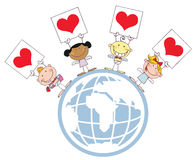 Cute Stick Cupids Holding Heart Signs On A Globe. Stick Cupids Holding Heart Signs On A Globe stock illustration