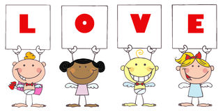 Cute Stick Cupids Holding Love Signs stock illustration