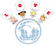 Cute Stick Cupids Holding LOVE Signs On A Globe Royalty Free Stock Photo