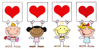 Cute Stick Cupids Holding Red Heart Signs. Cartoon Cute Stick Cupids Holding Red Heart Signs royalty free illustration