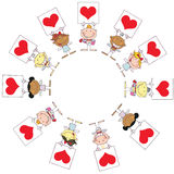 Cute Stick Cupids Holding Red Heart Signs. In A Circle royalty free illustration