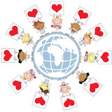 Cute Stick Cupids Holding Up Heart Signs. Around A Globe vector illustration