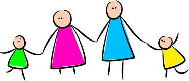 Cute Stick Family Holding Hands royalty free illustration