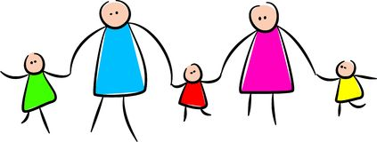 Cute Stick Family Holding Hands. Simple whimsical style illustration of a stick family holding hands together Royalty Free Stock Images
