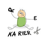 Cute stick figure seated by german career text. Clothed in green and playing with the letters r and e besides scissors Stock Images