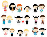 Cute stick figures boys and girls. Vector set of colored stick figure children in flat style Royalty Free Stock Photography