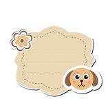 Cute sticker label, frame for text. Kids tag for text. Scribbled notebook page .vector illustration Royalty Free Stock Images