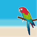 Cute sticker parrot on blurred beach background. EPS 10. Card with cute sticker parrot on blurred beach background Royalty Free Stock Photo