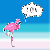 Cute sticker pink flamingo on the blurred beach background. EPS. Card with cute sticker pink flamingo on the blurred beach background Royalty Free Stock Photo