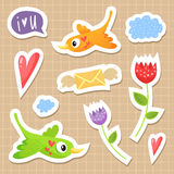 Cute sticker set with birds, hearts and flowers. Love theme stock illustration