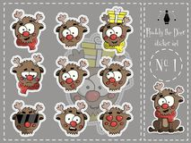 Sticker Set of Ruddy the deer 1 vector Royalty Free Stock Photo